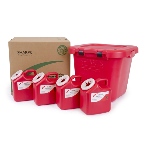 20-Gallon TakeAway Recovery System with four 2-Gallon Sharps Containers
