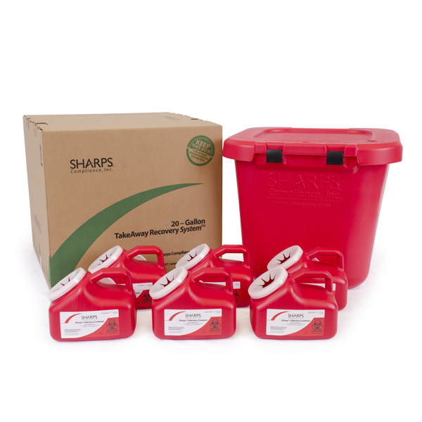 20-Gallon TakeAway Recovery System with six 1-Gallon Sharps Containers
