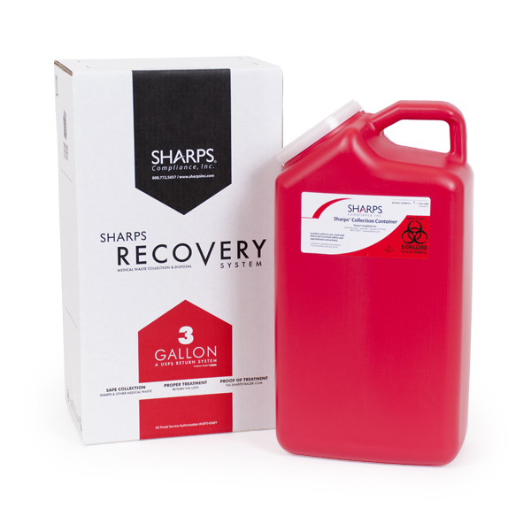 8/case 3-Gallon Sharps Recovery System