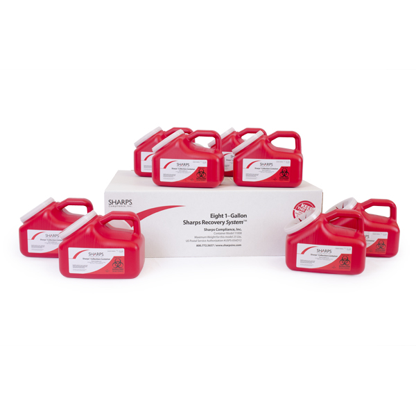 (Eight) 1-Gallon Sharps Recovery System