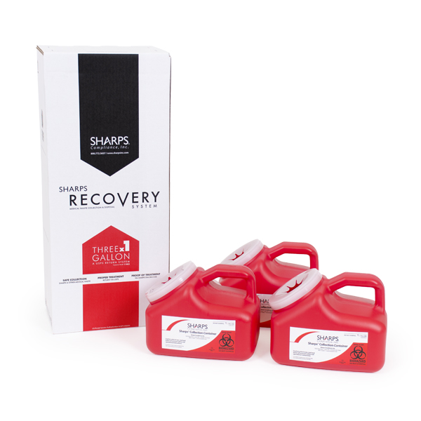 Three 1-Gallon Sharps Recovery System