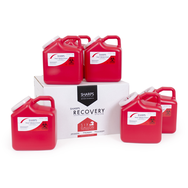 Six 2-Gallon Sharps Recovery System
