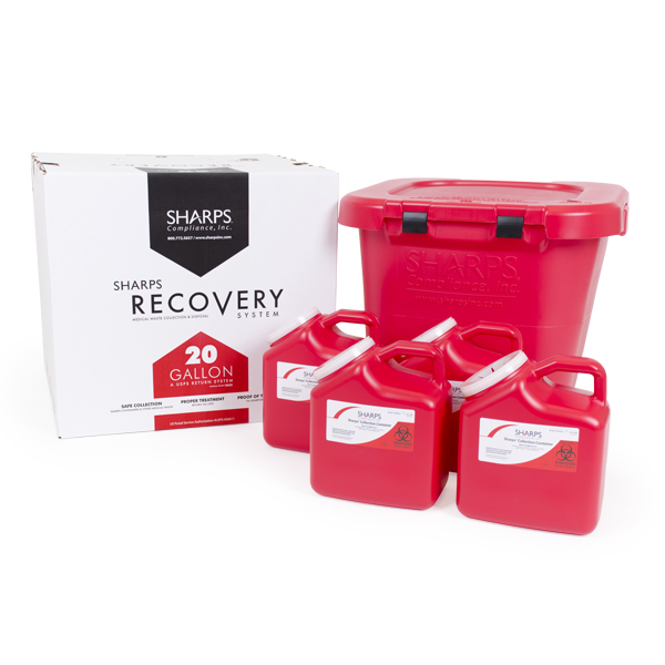20-Gallon Sharps Recovery System plus four 2-Gallon Sharps Containers