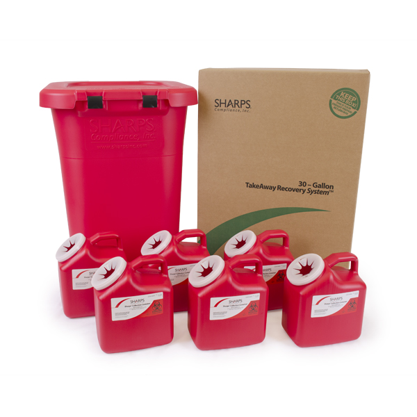 30-Gallon TakeAway Recovery System with six 2-Gallon Sharps Containers