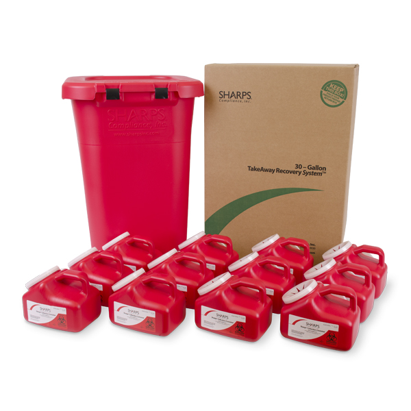 30-Gallon Medical Professional TakeAway Recovery System with (Twelve) 1-Gallon Sharps Collection Containers