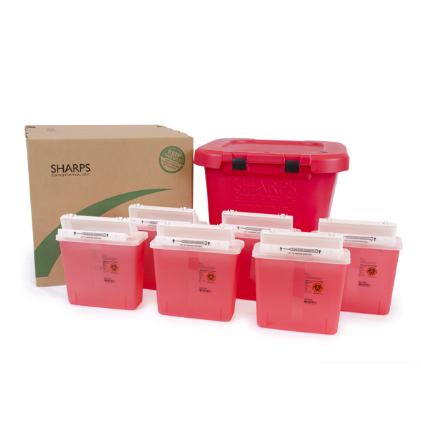 20-Gallon w/6QT SharpsStar Containers (Red)